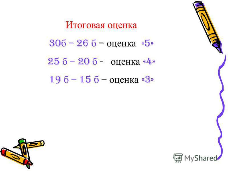 Итоговая оценка 30 б – 26 б – оценка «5» 25 б – 20 б - оценка «4» 19 б – 15 б – оценка «3»