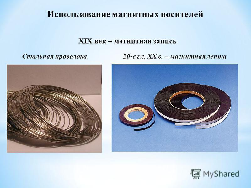 Использование магнитных носителей XIX век – магнитная запись Стальная проволока 20-е г.г. XX в. – магнитная лента