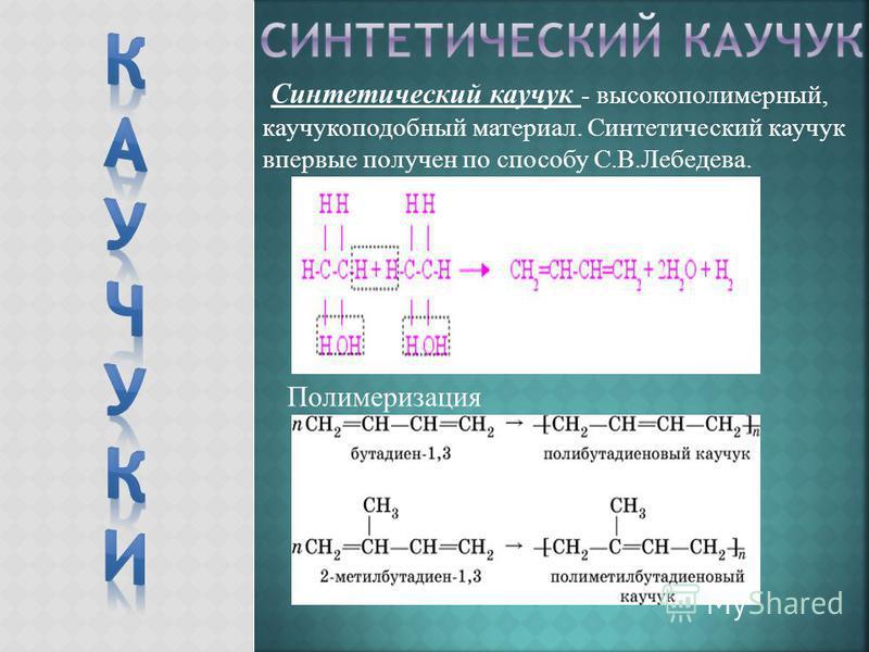 Синтетический каучук - высокополимерный, каучукоподобный материал. Синтетический каучук впервые получен по способу С.В.Лебедева. Полимеризация