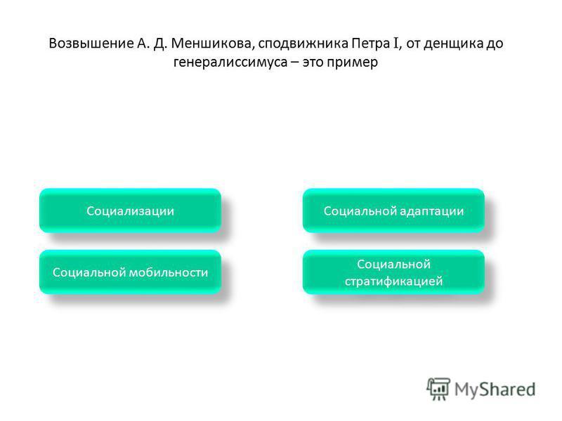 Социальной стратификацией Социальной стратификацией Социальной мобильности Социальной адаптации Социализации Возвышение А. Д. Меншикова, сподвижника Петра I, от денщика до генералиссимуса – это пример