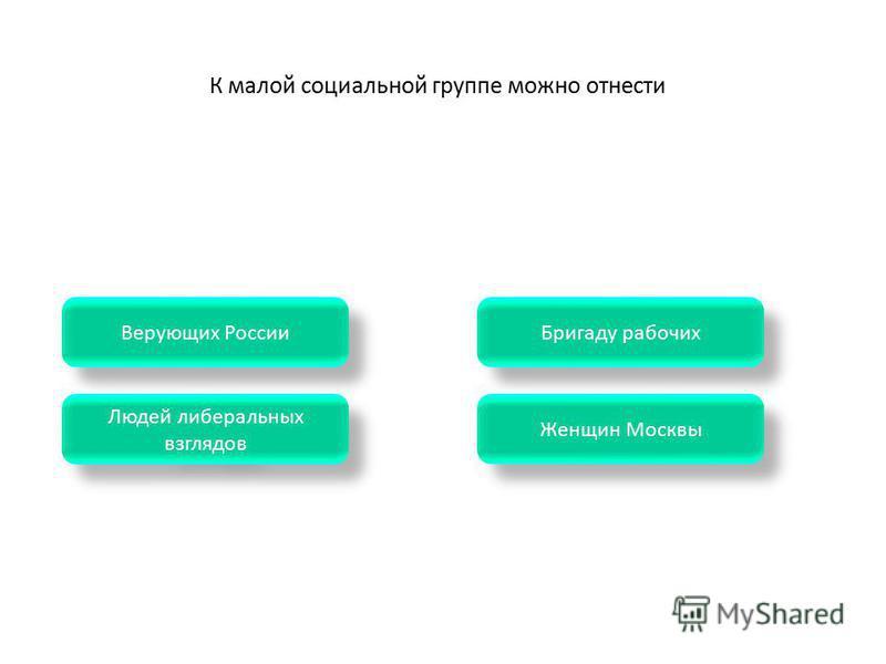 Женщин Москвы Бригаду рабочих Людей либеральных взглядов Людей либеральных взглядов Верующих России К малой социальной группе можно отнести