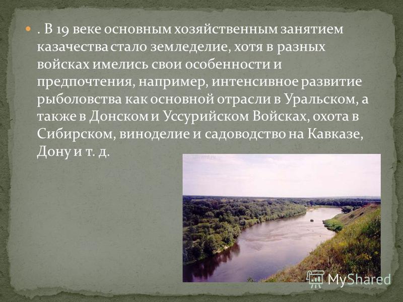 . В 19 веке основным хозяйственным занятием казачества стало земледелие, хотя в разных войсках имелись свои особенности и предпочтения, например, интенсивное развитие рыболовства как основной отрасли в Уральском, а также в Донском и Уссурийском Войск