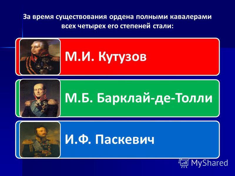 За время существования ордена полными кавалерами всех четырех его степеней стали: М.И. Кутузов М.Б. Барклай-де-Толли И.Ф. Паскевич