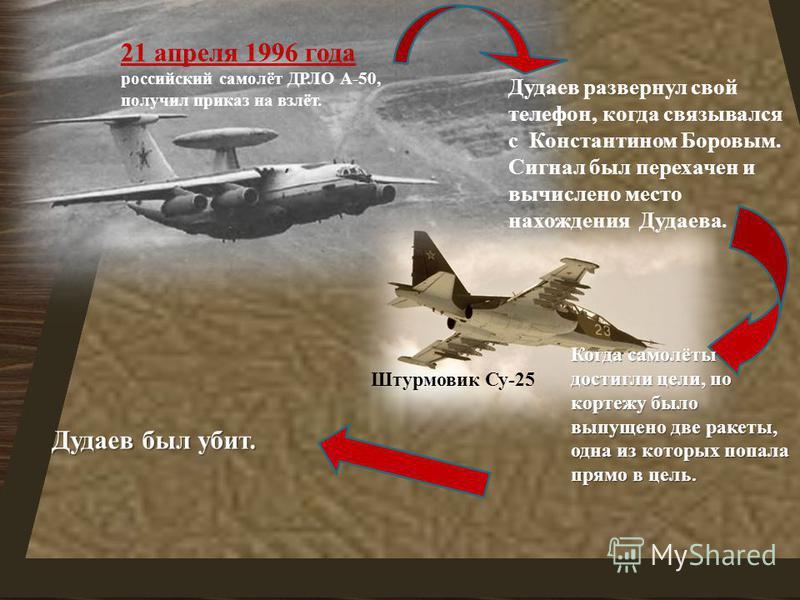 21 апреля 1996 года российский самолёт ДРЛО А -50, получил приказ на взлёт. Штурмовик Су -25 Дудаев развернул свой телефон, когда связывался с Константином Боровым. Сигнал был перехвачен и вычислено место нахождения Дудаева. Когда самолёты достигли ц
