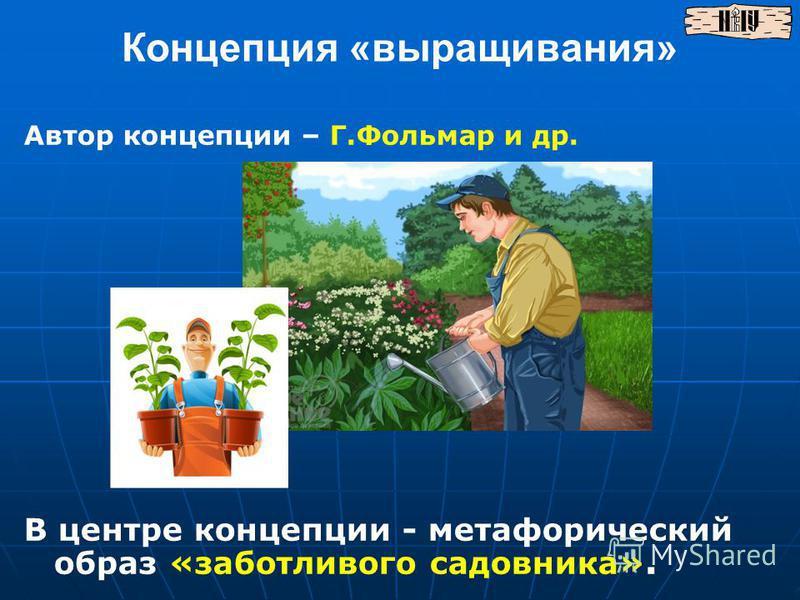 Концепция «выращивания» В центре концепции - метафорический образ «заботливого садовника». Автор концепции – Г.Фольмар и др.