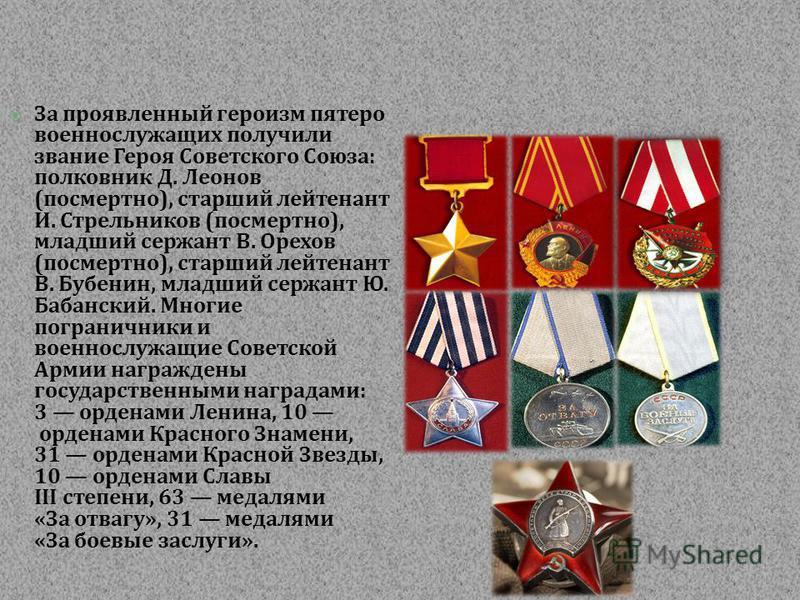 За проявленный героизм пятеро военнослужащих получили звание Героя Советского Союза : полковник Д. Леонов ( посмертно ), старший лейтенант И. Стрельников ( посмертно ), младший сержант В. Орехов ( посмертно ), старший лейтенант В. Бубенин, младший се