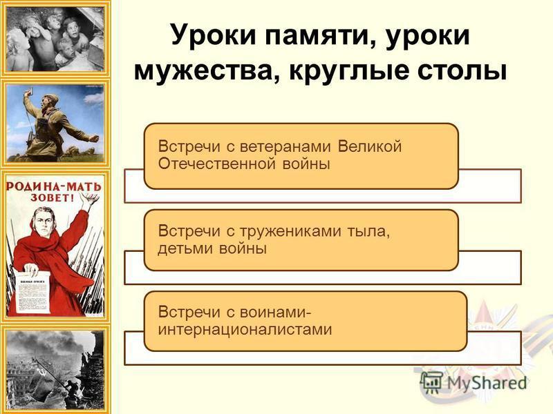Встречи с ветеранами Великой Отечественной войны Встречи с тружениками тыла, детьми войны Встречи с воинами- интернационалистами Уроки памяти, уроки мужества, круглые столы