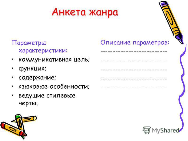 Анкета жанра Параметры характеристики: коммуникативная цель; функция; содержание; языковые особенности; ведущие стилевые черты. Описание параметров: --------------------------
