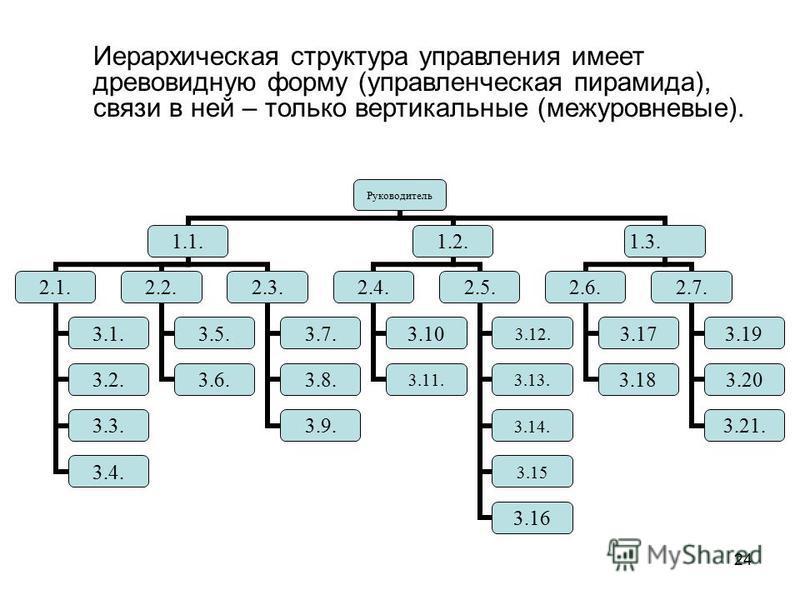 24 Руководитель 1.1. 2.1. 3.1. 3.2. 3.3. 3.4. 2.2. 3.5. 3.6. 2.3. 3.7. 3.8. 3.9. 1.2. 2.4. 3.10 3.11. 2.5. 3.12. 3.13. 3.14. 3.15 3.16 1.3. 2.6. 3.17 3.18 2.7. 3.19 3.20 3.21. Иерархическая структура управления имеет древовидную форму (управленческая