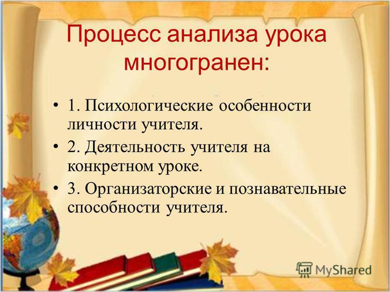 Процесс анализа урока многогранен : 1. Психологические особенности личности учителя. 2. Деятельность учителя на конкретном уроке. 3. Организаторские и познавательные способности учителя.