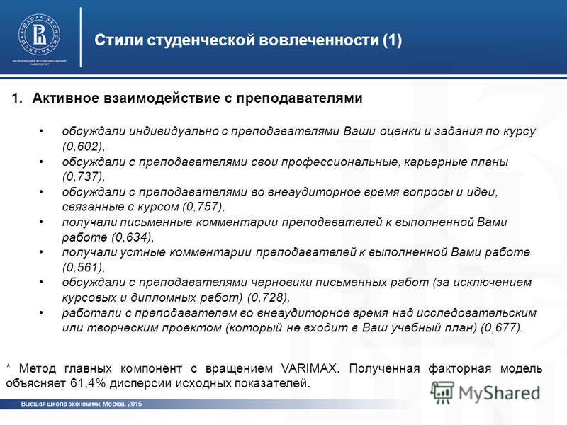 Высшая школа экономики, Москва, 2015 Стили студенческой вовлеченности (1) фото * Метод главных компонент с вращением VARIMAX. Полученная факторная модель объясняет 61,4% дисперсии исходных показателей. 1. Активное взаимодействие с преподавателями обс