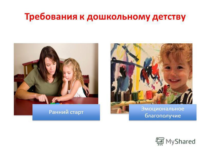 Требования к дошкольному детству Ранний старт Эмоциональное благополучие