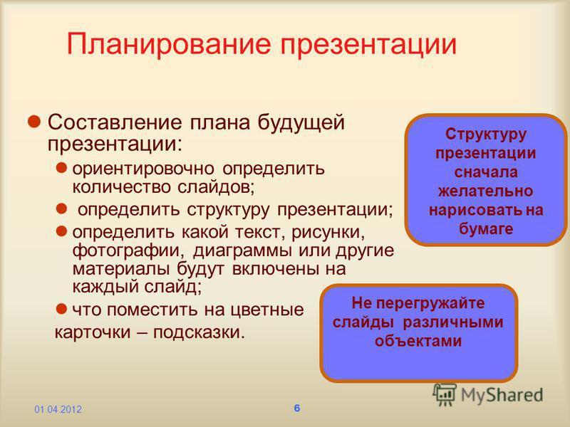 6 Планирование презентации Составление плана будущей презентации: ориентировочно определить количество слайдов; определить структуру презентации; определить какой текст, рисунки, фотографии, диаграммы или другие материалы будут включены на каждый сла