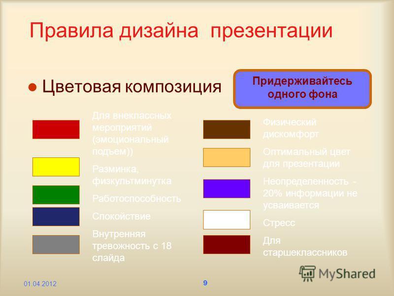 9 Правила дизайна презентации Цветовая композиция Придерживайтесь одного фона Для внеклассных мероприятий (эмоциональный подъем)) Разминка, физкультминутка Работоспособность Спокойствие Внутренняя тревожность с 18 слайда Физический дискомфорт Оптимал