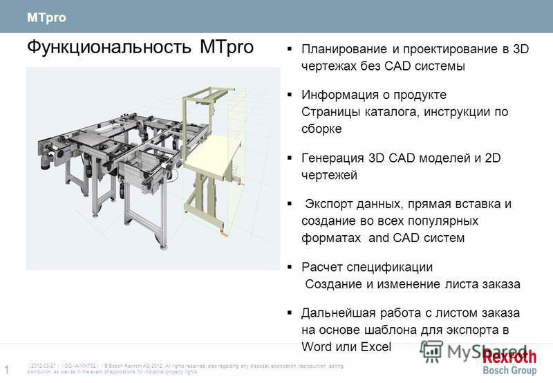 Функциональность MTpro Планирование и проектирование в 3D чертежах без CAD системы Информация о продукте Страницы каталога, инструкции по сборке Генерация 3D CAD моделей и 2D чертежей Экспорт данных, прямая вставка и создание во всех популярных форма