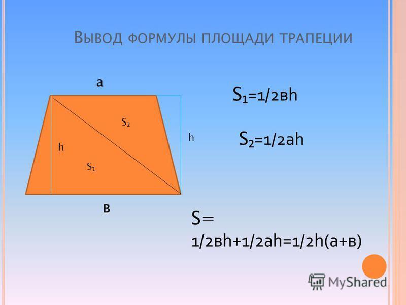 В ЫВОД ФОРМУЛЫ ПЛОЩАДИ ТРАПЕЦИИ а в h S S h S=1/2 вh S=1/2 ah S= 1/2 вh+1/2 ah=1/2h(а+в)