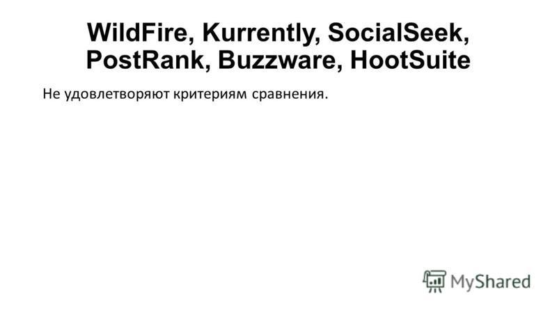 WildFire, Kurrently, SocialSeek, PostRank, Buzzware, HootSuite Не удовлетворяют критериям сравнения.