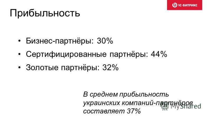 Прибыльность Бизнес-партнёры: 30% Сертифицированные партнёры: 44% Золотые партнёры: 32% В среднем прибыльность украинских компаний-партнёров составляет 37%