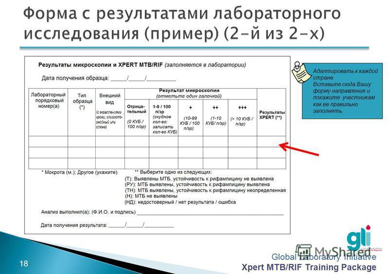 Global Laboratory Initiative Xpert MTB/RIF Training Package -17- Адаптировать к каждой стране. Вставьте сюда Вашу форму направления и покажите участникам как ее правильно заполнять.