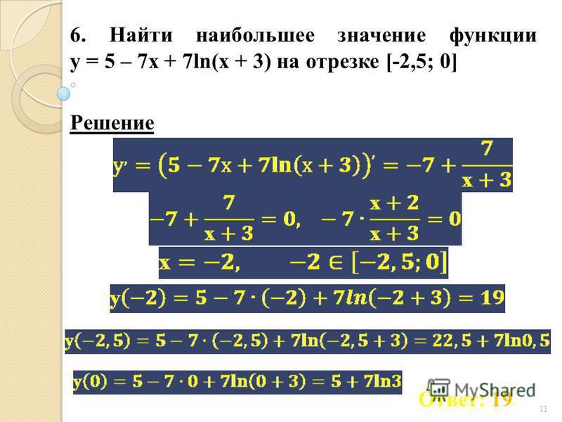 11 6. Найти наибольшее значение функции у = 5 – 7 х + 7ln(х + 3) на отрезке [-2,5; 0] Ответ: 19 Решение