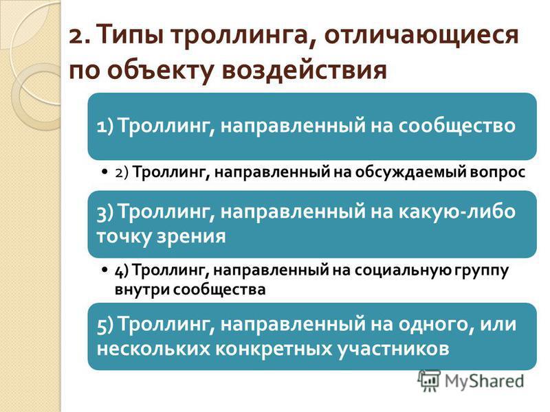 2. Типы троллинга, отличающиеся по объекту воздействия 1) Троллинг, направленный на сообщество 2) Троллинг, направленный на обсуждаемый вопрос 3) Троллинг, направленный на какую - либо точку зрения 4) Троллинг, направленный на социальную группу внутр
