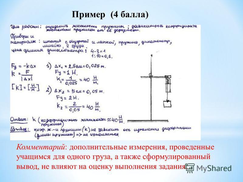 Комментарий: дополнительные измерения, проведенные учащимся для одного груза, а также сформулированный вывод, не влияют на оценку выполнения задания. Пример (4 балла)