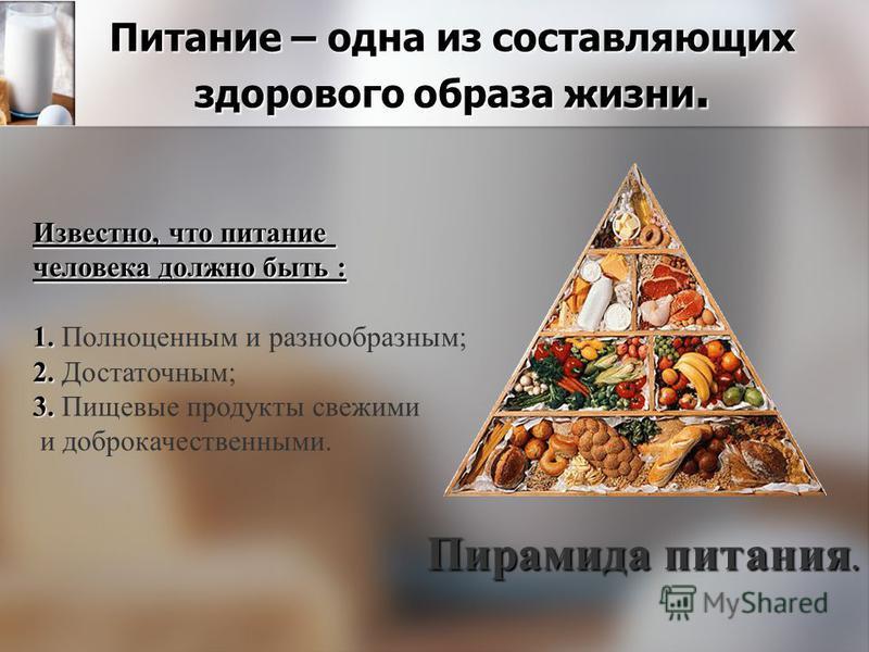 Питание – одна из составляющих здорового образа жизни. Пирамида питания. Известно, что питание человека должно быть : 1. 1. Полноценным и разнообразным; 2. 2. Достаточным; 3. 3. Пищевые продукты свежими и доброкачественными.