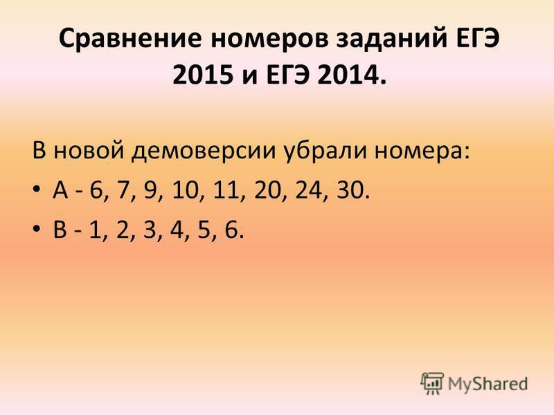 Сравнение номеров заданий ЕГЭ 2015 и ЕГЭ 2014. В новой демоверсии убрали номера: A - 6, 7, 9, 10, 11, 20, 24, 30. B - 1, 2, 3, 4, 5, 6.