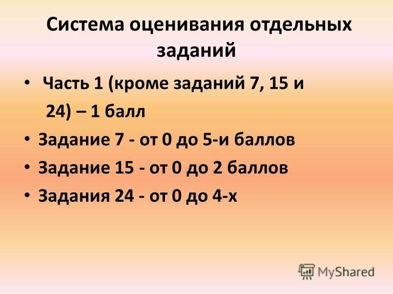 Система оценивания отдельных заданий Часть 1 (кроме заданий 7, 15 и 24) – 1 балл Задание 7 - от 0 до 5-и баллов Задание 15 - от 0 до 2 баллов Задания 24 - от 0 до 4-х