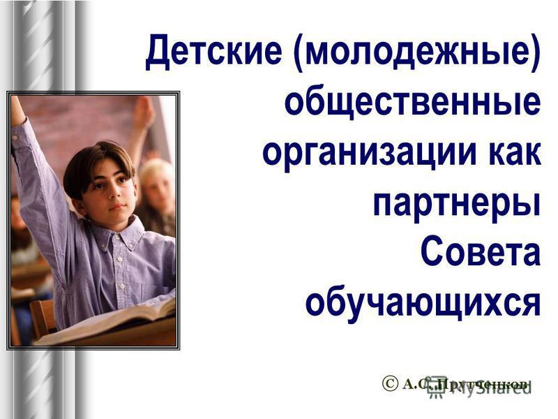 Детские (молодежные) общественные организации как партнеры Совета обучающихся © А.С. Прутченков