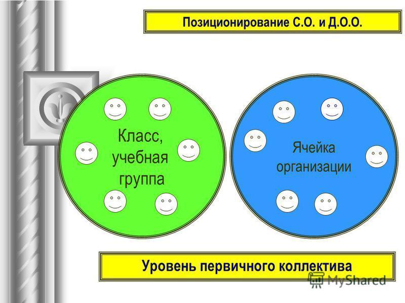Позиционирование С.О. и Д.О.О. Класс, учебная группа Ячейка организации Уровень первичного коллектива