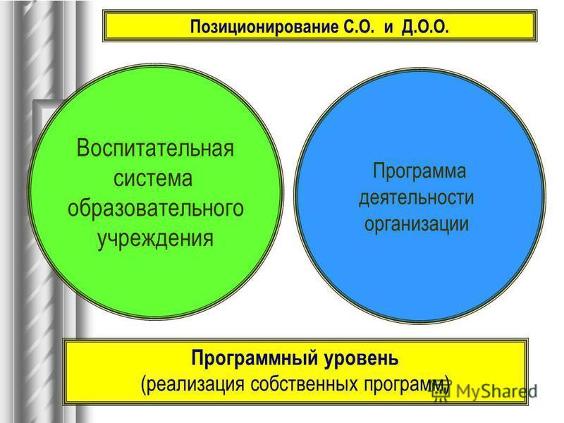 Воспитательная система образовательного учреждения Программа деятельности организации Программный уровень (реализация собственных программ) Позиционирование С.О. и Д.О.О.