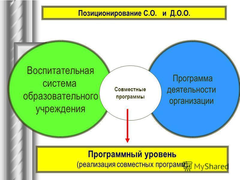 Воспитательная система образовательного учреждения Программа деятельности организации Программный уровень (реализация совместных программ) Совместные программы Позиционирование С.О. и Д.О.О.