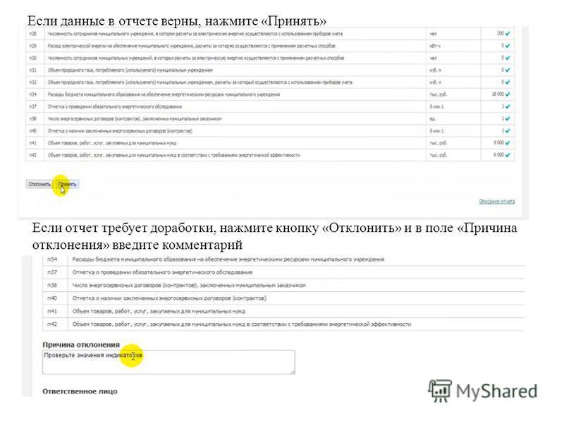 Если данные в отчете верны, нажмите «Принять» Если отчет требует доработки, нажмите кнопку «Отклонить» и в поле «Причина отклонения» введите комментарий