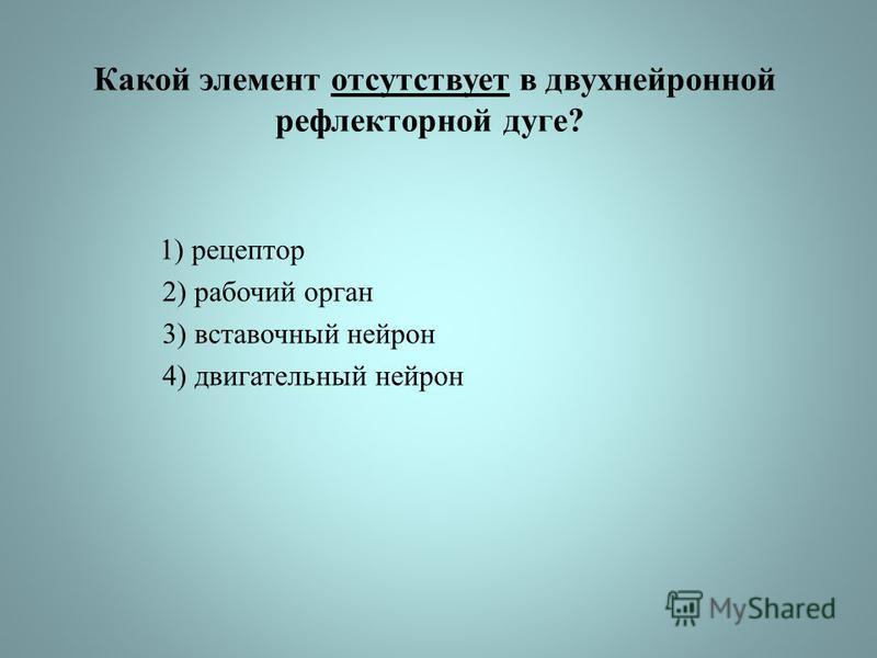 Какой элемент отсутствует в двухнейронной рефлекторной дуге? 1) рецептор 2) рабочий орган 3) вставочный нейрон 4) двигательный нейрон