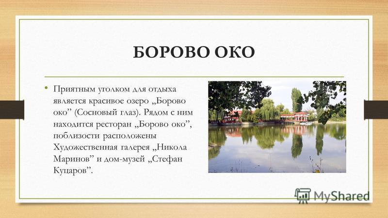 БОРОВО ОКО Приятным уголком для отдыха является красивое озеро Борово око (Сосновый глаз). Рядом с ним находится ресторан Борово око, поблизости расположены Художественная галерея Никола Маринов и дом-музей Стефан Куцаров.