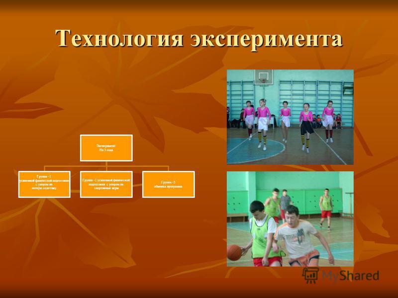 Технология эксперимента Эксперимент На 3 года Группа -1 усиленной физической подготовки с упором на легкую атлетику Группа -2 усиленной физической подготовки с упором на спортивные игры Группа -3 обычная программа