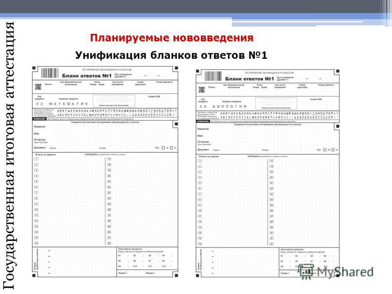 Государственная итоговая аттестация Планируемые нововведения Унификация бланков ответов 1