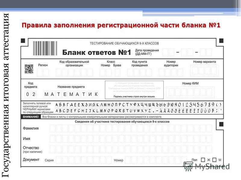 Государственная итоговая аттестация Правила заполнения регистрационной части бланка 1
