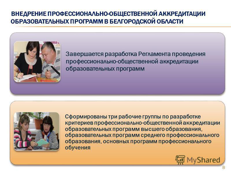 ВНЕДРЕНИЕ ПРОФЕССИОНАЛЬНО-ОБЩЕСТВЕННОЙ АККРЕДИТАЦИИ ОБРАЗОВАТЕЛЬНЫХ ПРОГРАММ В БЕЛГОРОДСКОЙ ОБЛАСТИ 8 Завершается разработка Регламента проведения профессионально-общественной аккредитации образовательных программ Сформированы три рабочие группы по р