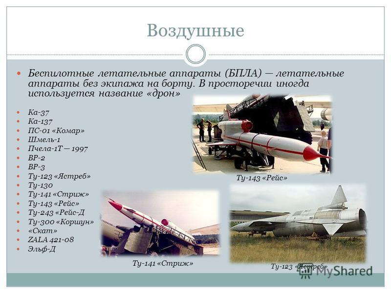 Воздушные Беспилотные летательные аппараты (БПЛА) летательные аппараты без экипажа на борту. В просторечии иногда используется название «трон» Ка-37 Ка-137 ПС-01 «Комар» Шмель-1 Пчела-1Т 1997 ВР-2 ВР-3 Ту-123 «Ястреб» Ту-130 Ту-141 «Стриж» Ту-143 «Ре