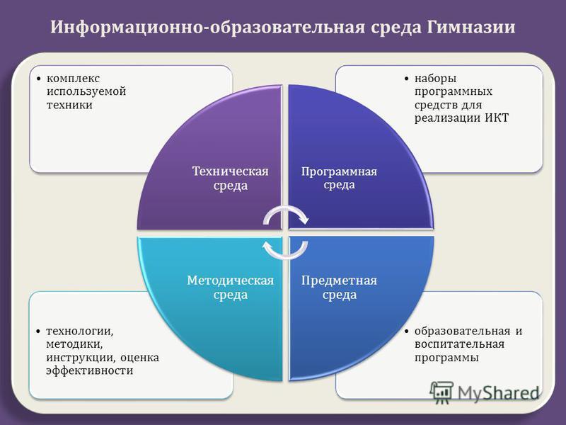 образовательная и воспитательная программы технологии, методики, инструкции, оценка эффективности наборы программных средств для реализации ИКТ комплекс используемой техники Техническая среда Программная среда Предметная среда Методическая среда Инфо