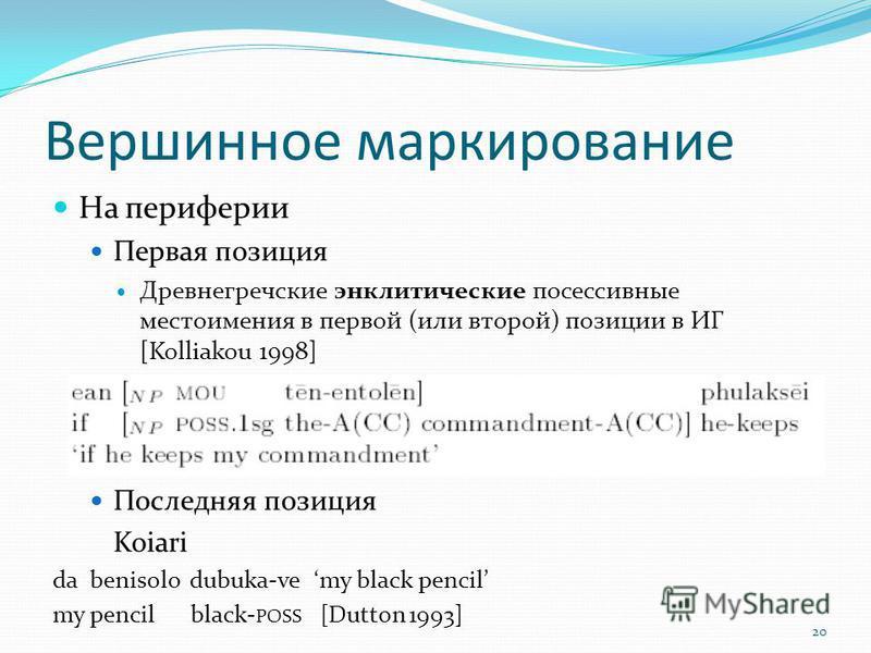 Вершинное маркирование На периферии Первая позиция Древнегречские энкритические посессивные местоимения в первой (или второй) позиции в ИГ [Kolliakou 1998] Последняя позиция Koiari da benisolo dubuka-vemy black pencil my pencil black- POSS [Dutton 19