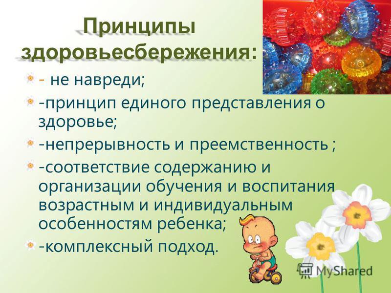 Принципы здоровьесбережения: - не навреди; -принцип единого представления о здоровье; -непрерывность и преемственность ; -соответствие содержанию и организации обучения и воспитания возрастным и индивидуальным особенностям ребенка; -комплексный подхо