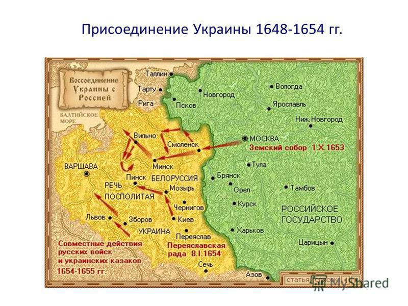 Присоединение Украины 1648-1654 гг.