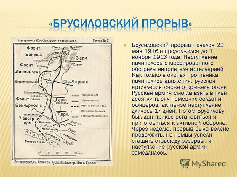 Брусиловский прорыв начался 22 мая 1916 и продолжился до 1 ноября 1916 года. Наступление начиналось с массированного обстрела неприятеля артиллерией. Как только в окопах противника начинались движения, русская артиллерия снова открывала огонь. Русска