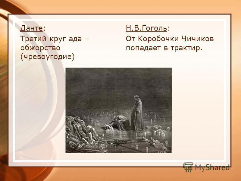 Данте: Третий круг ада – обжорство (чревоугодие) Н.В.Гоголь: От Коробочки Чичиков попадает в трактир.