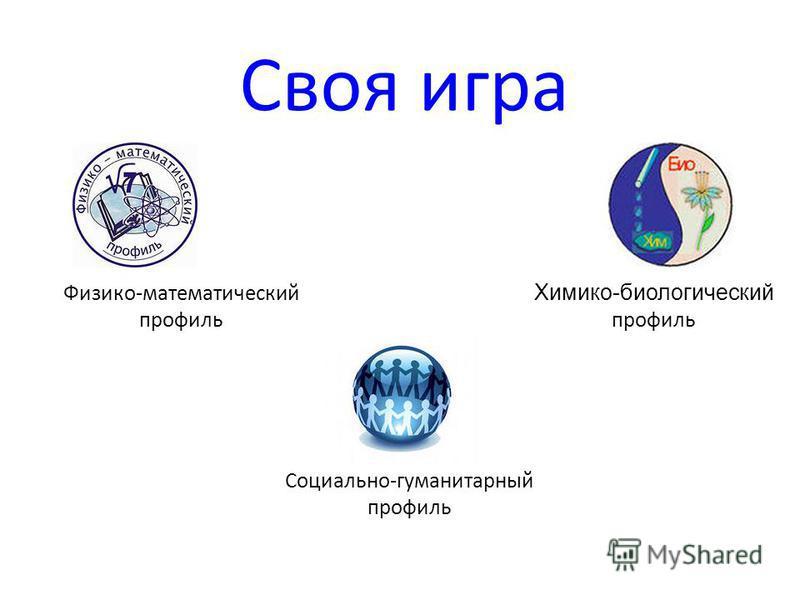 Своя игра Физико-математический профиль Химико-биологический профиль Социально-гуманитарный профиль
