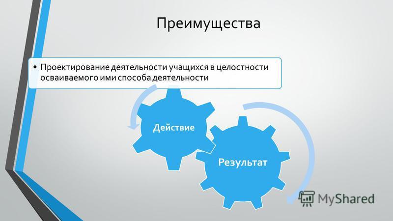 Преимущества Результат Действие Проектирование деятельности учащихся в целостности осваиваемого ими способа деятельности