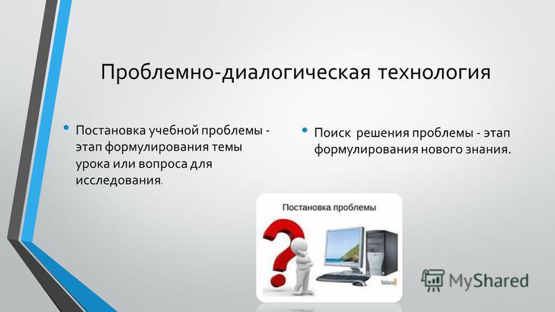 Проблемно-диалогическая технология Постановка учебной проблемы - этап формулирования темы урока или вопроса для исследования. Поиск решения проблемы - этап формулирования нового знания.
